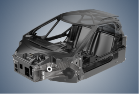 Front, driver's side high angle view of isolated roll cage, surrounded by gray-blue vignette