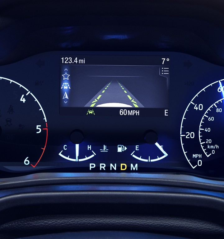 Dashboard screen displaying the available driver activated lane keeping system