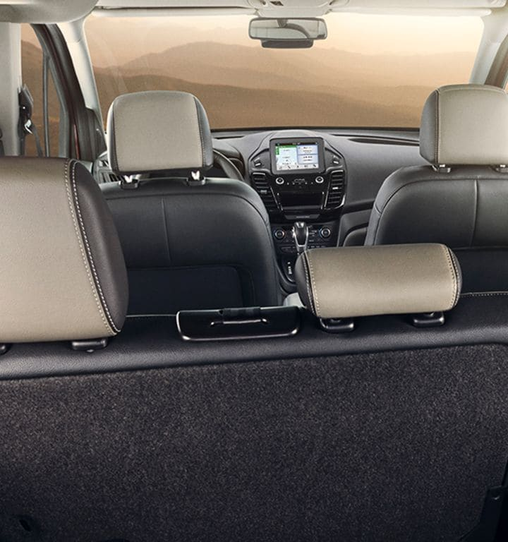 Transit connect interior with rear seating lowered for cargo