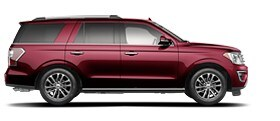Perfil lateral de la Ford Expedition Platinum 2020 en Burgundy Velvet