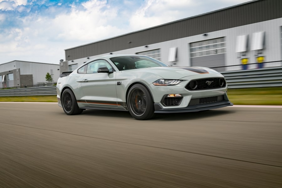 2021 Ford Mustang Mach 1 driving on a race track
